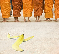 Banana and budystski monks